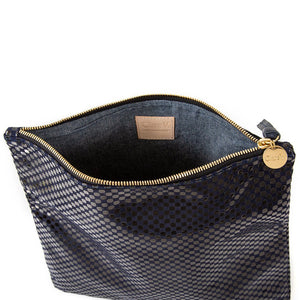Navy Suede Check Foldover Clutch