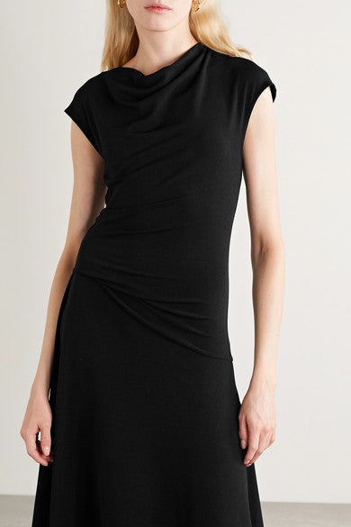 Aidia Draped Stretch Crepe Midi Dress