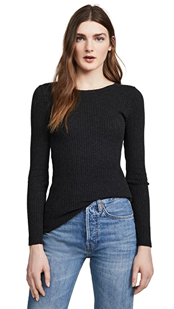 Cashmere Poorboy Rib Long Sleeve Crew