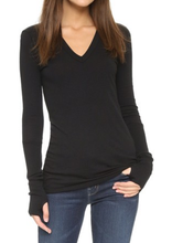 Load image into Gallery viewer, Cashmere Cuffed V-Neck Tee