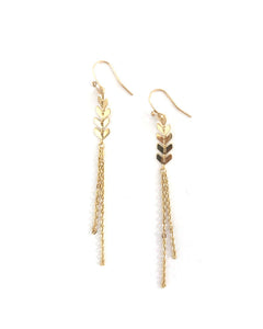 Gold Chevron Chain Earrings