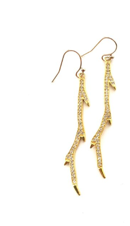 Gold Pave Branch Earrings