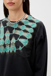 Reconstructed Long Sleeve Tie Dye Cropped Tee