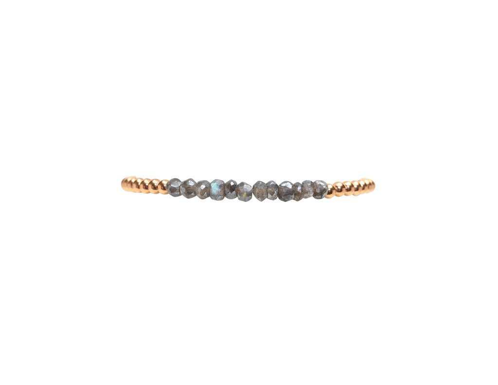 3mm Rose Gold Filled Bracelet with Labradorite
