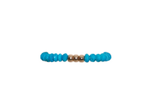 Load image into Gallery viewer, 8mm Turquoise Bracelet with Yellow Rondelle Pattern