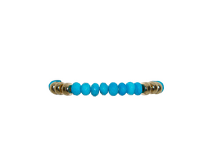 8mm Turquoise Bracelet with Yellow Rondelle Pattern