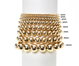 3mm Yellow Gold Filled Bracelet with 3 White Pearl Pattern