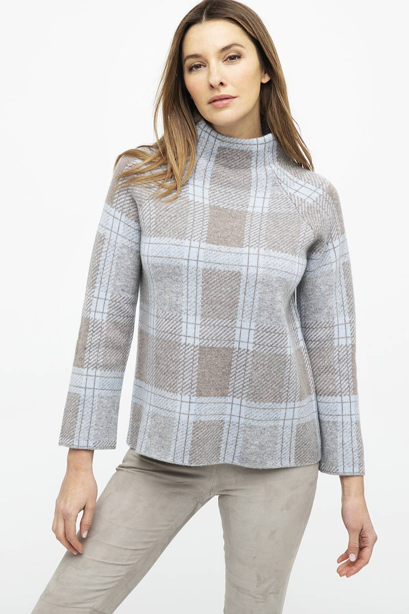 Plaid Funnel Neck Sweater