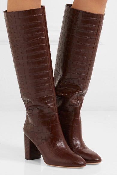 Goldy Croc-Effect Tall Boots