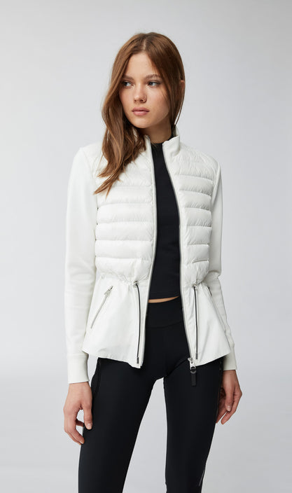 Joyce Mixed-Media Jacket With Rainwear Peplum
