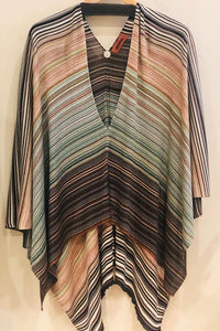 Striped Metallic Poncho