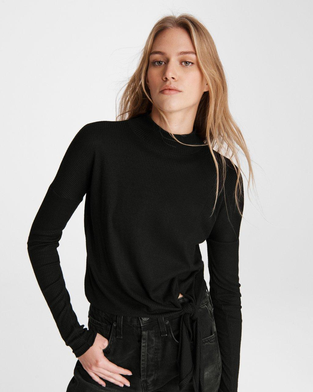 The Rib Knit Tie Turtleneck