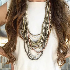 Metallic Layer Necklace Set