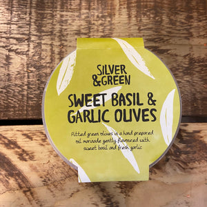 Silver & Green - Sweet Basil and Garlic Olives