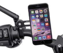 "Load image into Gallery viewer, Harley-Davidson® Universal Phone Carrier and Handlebar Mount - Includes three shims to mount securely to 0.875""to 1.250""diametre handlebar. 76001072"