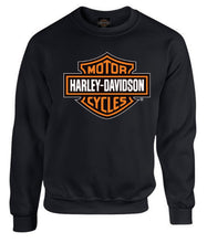 Load image into Gallery viewer, Port City Harley-Davidson Bar & Shield Long Sleeve Crew Neck Fleece - Black