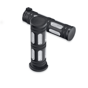 Harley-Davidson® Edge Cut Hand Grips - STREET - 56100083.  Live your life on the edge. The Edge Cut Collection features a crisp anodized finish that is machined to expose the highlights of raw aluminum.