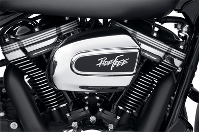 Harley-Davidson® Ride Free Air Cleaner Trim - 61301025  The Ride Free collection celebrates our liberty to enjoy the freedom of the open road, and calls us all to explore, discover and unite with our love of motorcycling. Inspired by Willie G Davidson's famous phrase, this collection continues that traditi