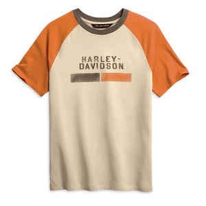 Harley-Davidson® Men's Distressed Racing Slim Fit T-Shirt.  96032-20VM.  100% Cotton Jersey.  Stone-washed for softness. Garment dyed for faded, lived in vintage look. Rib-knit neckline.  Graphics: Distressed printed graphics.   Colour: Cloud Cream.