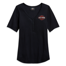 Load image into Gallery viewer, Harley-Davidson® Women's Logo Henley T-Shirt - 96148-21VW.