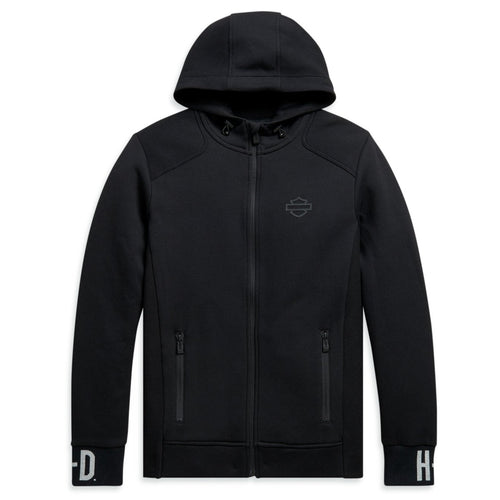 Harley-Davidson® Men's Rib-Knit Side Slim Fit Hoodie - Black.   99094-20VH  Made from 68% cotton and 32% polyester knit interlock. Zipper front. Zipper hand-warmer pockets. Rib-knit side panels and cuffs. Three panel hood with integrated bungee cord and toggle. High-density graphics. Knit-in graphics on cuffs. Slim Fit - fits closer to the body.