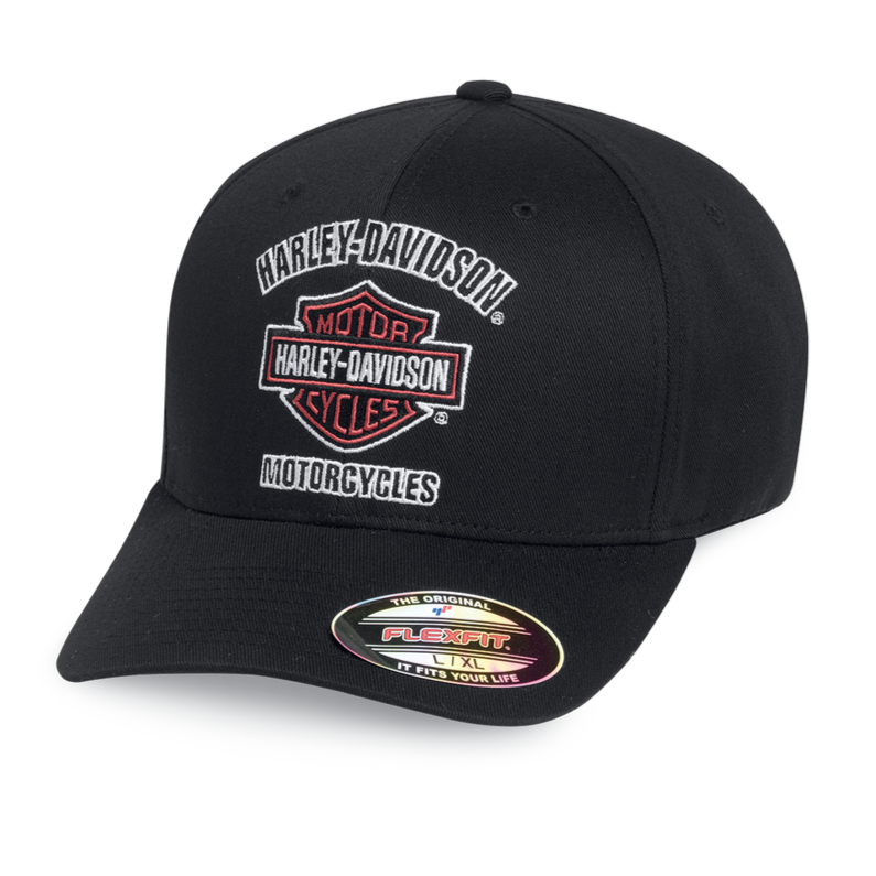 Harley-Davidson® Men's Traditional Logo Stretch Baseball Cap Hat, Black. 99408-16VM.