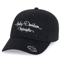 Load image into Gallery viewer, Harley-Davidson® Women's Black Rhinestone Cap - 99537-16VW.