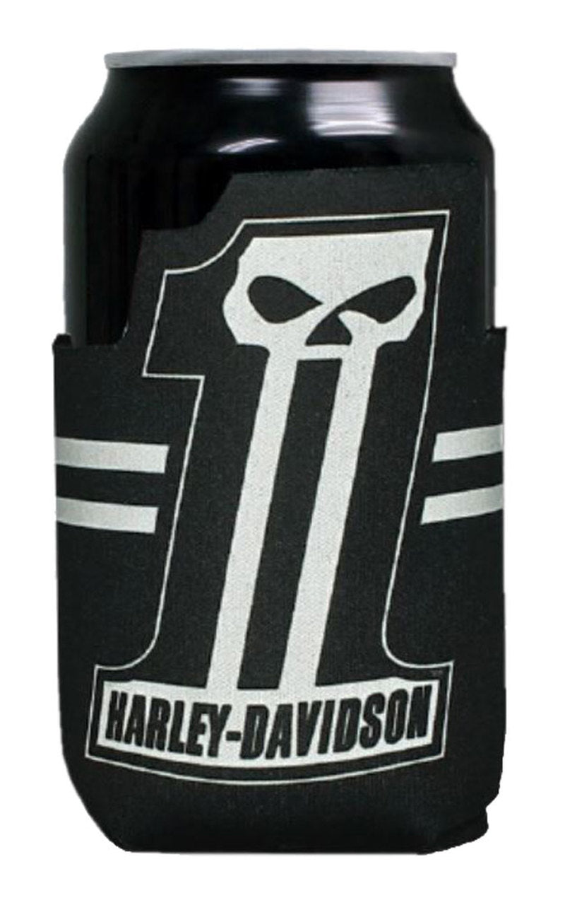 Harley-Davidson® #1 Skull Can Flat Stubby Cooler. CF71800. Awesome custom #1 skull shape. Decked out with the famous #1 skull logo and contrasting stripes. Folds flat for easy storage or traveling. Made of neoprene that helps keep your drink cooler longer. Stretchy, no struggle to get it on the can. Perfect for summer!