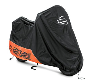 Harley-Davidson® Indoor/Outdoor Motorcycle Cover - MEDIUM (V-ROD/ DYNA / SOFTAIL) - ORANGE / BLACK - 93100022