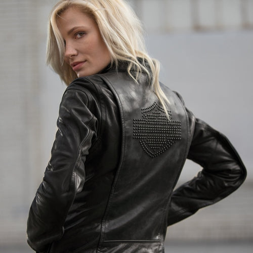 The Tenacity Leather Jacket is a chic makeover of the traditional women's leather motorcycle jacket. Cut from rich leather, this one features clean lines and minimal embellishment for a sleek look—just a discreet metal badge and tonal studs. Call-outs like action back, armour pockets, and venting keep it functional.
