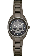 Load image into Gallery viewer, Harley-Davidson® Women's Crystal Willie G Skull Watch, Gunmetal Finish 78L124