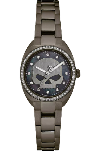 Harley-Davidson® Women's Crystal Willie G Skull Watch, Gunmetal Finish 78L124