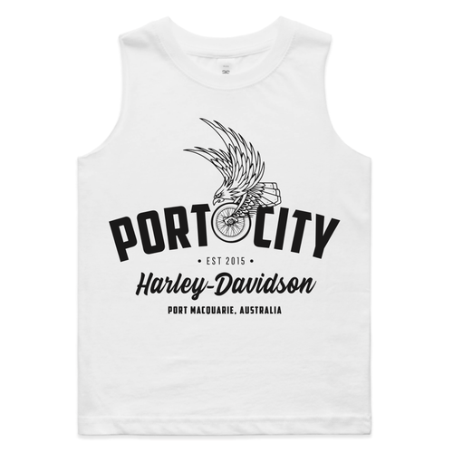 Kids/Youth Port City Harley-Davidson Eagle Wing Tank / Singlet - White - Sizes 2-6 (NEW)