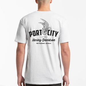 Port City Harley-Davidson Eagle Wing T-Shirt - White