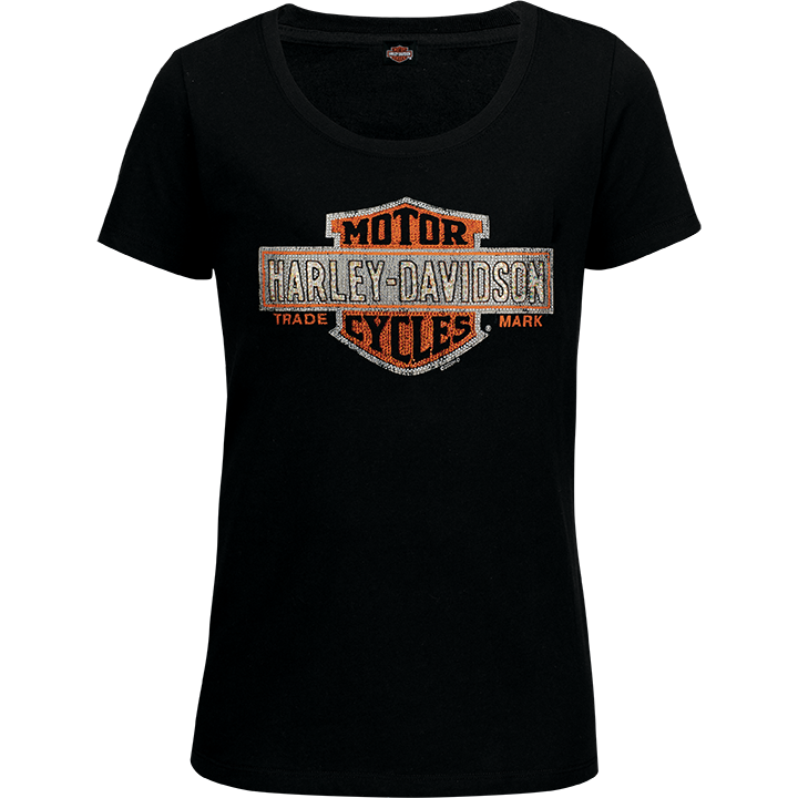 Port City Harley-Davidson  Women's Multiply SL T-Shirt - Orange  Embellishment: Stones