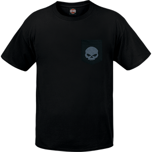 Port City Harley Davidson  G Pocket SL Tee - Black  Features the classic Willie G Skull  Classic Fit