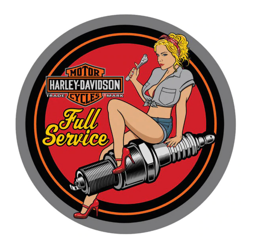 Harley-Davidson® Spark Plug Babe Embossed Round Tin Sign, 14 inch diameter - 2011371