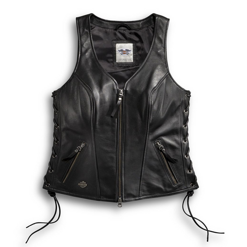 The Harley-Davidson® Avenue Leather Vest features sexy side-lacing and a racy silhouette that will leave 'em speechless.
