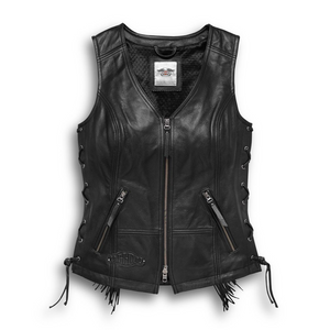 Leather vest...with fringe...need we say more? The Boone Fringed Leather Vest features high-quality leather construction with side lacing for an adjustable fit. Our women's leather motorcycle vest is styled with a V-neck that's begging for a scarf, pendant, or thin leather choker.  Fit & Mobility: Side lacing.  Ride Enhancing Features: Padded back waist.  Design Details: Embossed leather patch with studs. Embroidered leather appliqué patch.  98014-18VW