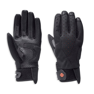 Thanks to unique laser perforations and a perf'ed leather palm, these women's motorcycle gloves help you feel the wind and cool down during steamy rides. The mixed-media styling minimizes weight and gives the Abilene Mixed Media Gloves a sporty look.  97155-19VW