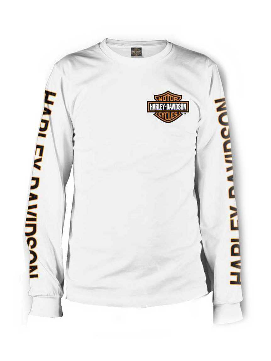 Port City Harley-Davidson  Orange Bar & Shield Long Sleeve T-Shirt - White