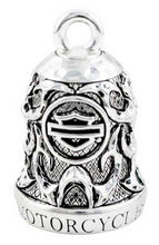 Load image into Gallery viewer, Harley-Davidson® Motorcycle Ride Bell, Willie G Skull & Tribal Flames HRB074
