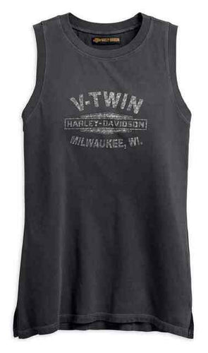 Harley-Davidson® Women's Studded V-Twin Muscle Tee, 96296-18VW. Made from 100% cotton jersey with pigment dye is washed for softness. Rib-knit trim. Distressed printed graphics on front. Printed graphics with stud embellishment on back. 96296-18VW