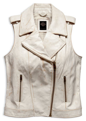 Harley-Davidson® Women's Distressed Leather Biker Vest, 96197-17VW. Mid-weight vest, constructed from 100% cowhide leather. Crackled effect. Comfortable 100% cotton lining. Zippered front. Two snap epaulettes. Two zippered hand-warmers pockets. Metal H-D® badge on back neck.