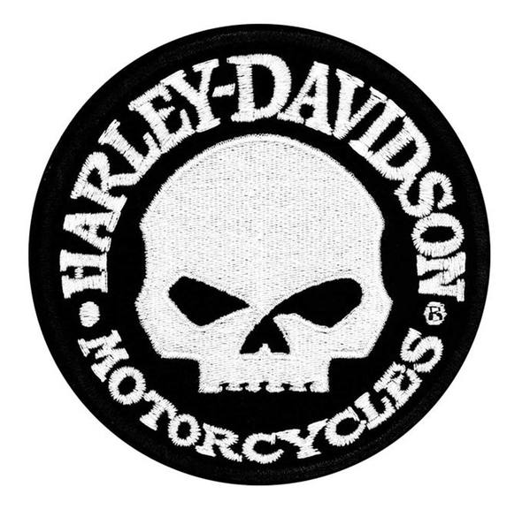 Harley-Davidson® Hubcap Skull Small Sew-On Patch, 4'' W x 4'' H - EM1029882