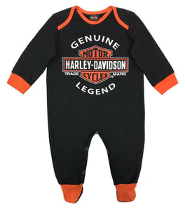 Harley-Davidson® Baby Boys' Interlock B&S Footed Coveralls, Black 3050911
