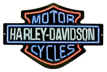 Load image into Gallery viewer, Harley-Davidson® Neon Lights Design Embossed Tin Sign, 2011381.