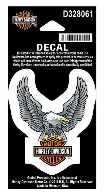 Harley-Davidson® Up Wing Silver Eagle Decal / Sticker, D328061, sized 3 x 2.5-inches.   This decal is ready to affix on any relatively flat and smooth surface, like your car's windshield or back or side window, your motorcycle windshield, a game room mirror, or something like it.