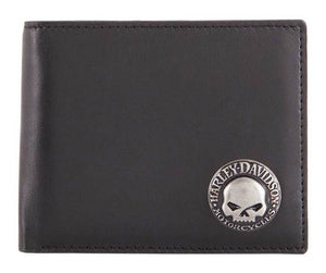 Harley-Davidson® Men's Skull Concho Bi-Fold Wallet, HDMWA11474. Made of high-quality black Genuine leather with a smooth texture. The best materials make up the long-lasting wallets. Features an awesome sculpted Willie G Skull concho with Harley-Davidson® script.
