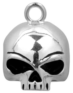 This Harley-Davidson® Round Willie G Skull Guardian™ Ride Bell, HRB020, is made out of polished and chromed metal and includes ring for hanging, a felt pouch, and a legend card.